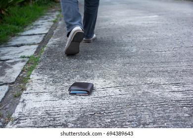 Wallet drop on the road when walking