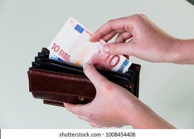 wallet with euro bank note