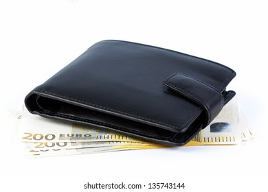 Wallet with euro banknotes on a white background.