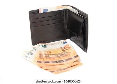 Wallet with Euro notes against a white background