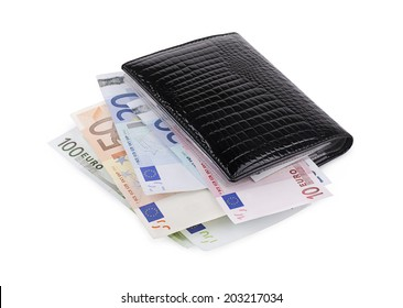 Wallet with euro on a white background