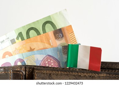 A wallet, flag of Italy and euro bills