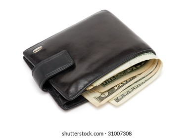 Wallet full of dollars isolated on white
