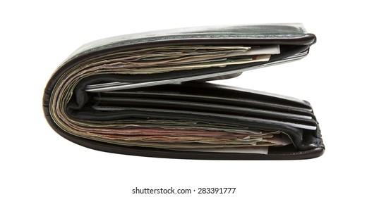 Wallet full of money on background