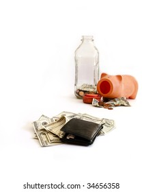 A wallet full of money situated across from and empty piggy bank and a small pile of money
