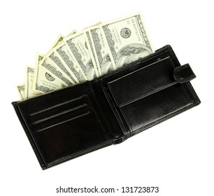 Wallet with hundred dollar banknotes, isolated on white
