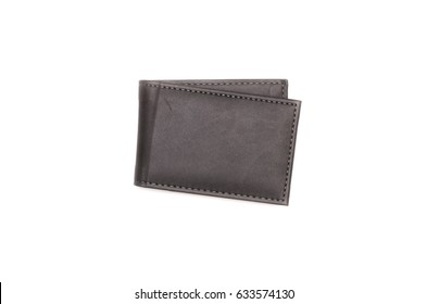 Wallet isolated on white background. Business card holder flat lay, top view.