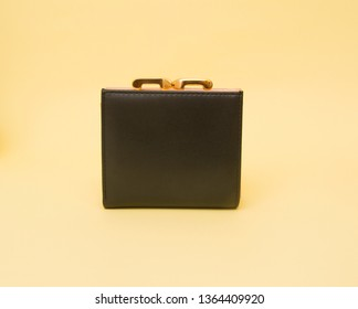 Wallet isolated on the yellow background