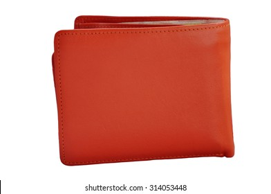 Wallet made with orange leather
