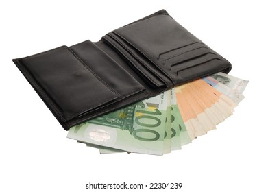 the wallet with money isolated on the background