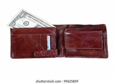 wallet with one dollar bill isolated over white