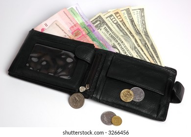 wallet purse with some money