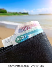 Wallet with Russian Money on the Seaside Background