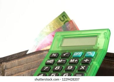 A wallet, Swiss franc bills and a calculator