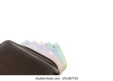 Wallet with THAI BAHT money isolated on white background