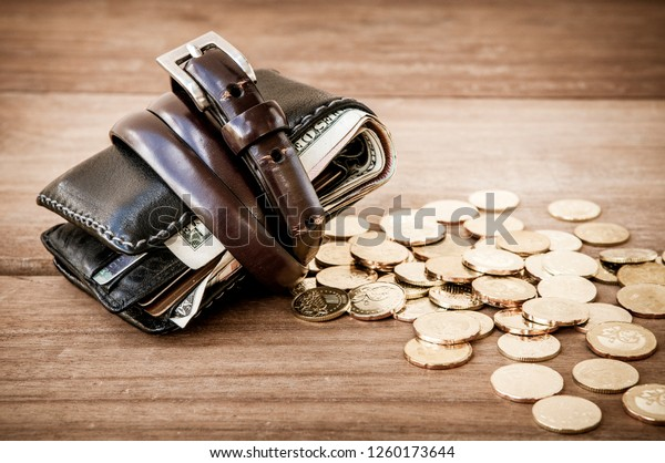 Wallet Tied Belt Gold Coins On Stock Photo (Edit Now) 1260173644