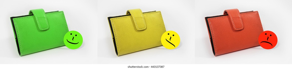 Wallets with emoticons showed in three steps from good to bad. The color symbolize the good (green), the medium (yellow) and the evil (red).
