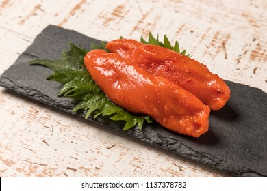 walleye pollack roe (generally served salted and spiced with red pepper(mentaiko)) japanese foods