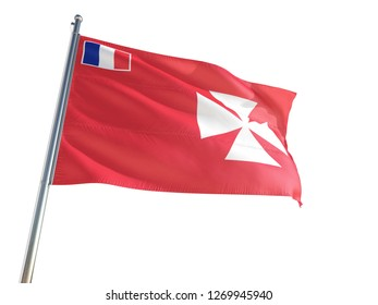 Wallis And Futuna National Flag waving in the wind, isolated white background. High Definition