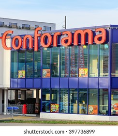Wallisellen, Switzerland - 13 November, 2015: Conforama store building. Conforama is Europe's second largest home furnishings retail chain with over 200 stores in France,  Switzerland, etc.