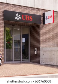 Wallisellen, Switzerland - 30 July, 2017: entrance to the office of the UBS bank in the town of Wallisellen in the Swiss canton of Zurich. UBS AG is a Swiss global financial services company.