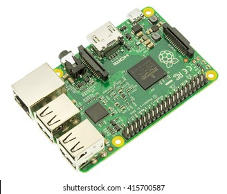 Wallisellen, Switzerland - 5 May, 2016: a Raspberry Pi 2 Model B board, isolated on white background. The Raspberry Pi is a series of single-board computers developed by the Raspberry Pi Foundation.