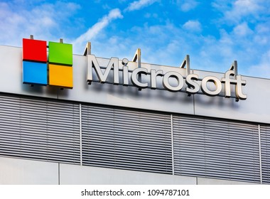 Wallisellen, Switzerland - September 23, 2017: upper part of an office building bearing the sign of the Microsoft Corporation. Microsoft Corporation is a multinational technology company.