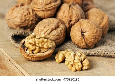 wallnuts on background - food