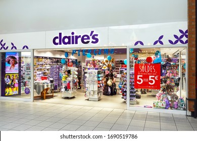 WALLONIA, BELGIUM – JULY 26, 2019: Storefront of claire's branch in Belgium. Claire's Accessories, is an American retailer of accessories, jewelry, and toys primarily aimed toward tweens and teens.