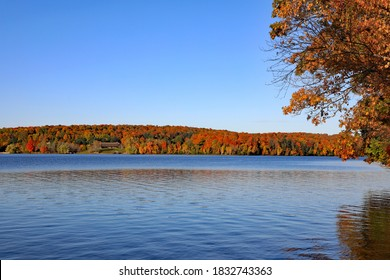 Walloon Lake in Northern Michigan on a pretty autumn morning, with a breeze over the water.
