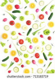 Wallpaper abstract composition of fruits and vegetables. Food pattern vegetables. Healthy food concept. Vegetables, top view.