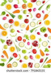 Wallpaper abstract composition of fruits and vegetables. Food pattern vegetables. Healthy food concept. Vegetables isolated, top view.