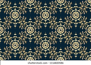 Wallpaper baroque, damask. Floral pattern. Golden elements on blue, white and brown colors. Seamless raster background. Stylish graphic pattern.