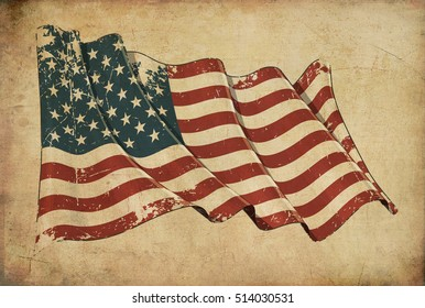 Wallpaper depicting an aged paper, textured background with a scratched illustration of the American flag