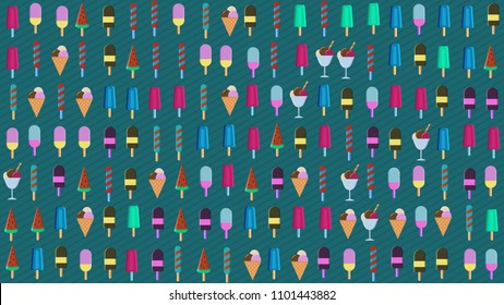 wallpaper of different types of ice cream, concept of summer and freshness