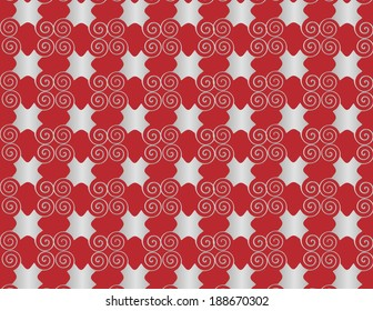 Wallpaper grid pearl arabesque spiral on red background.