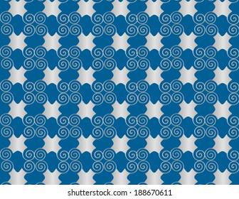 Wallpaper grid pearl arabesque spiral on blue background.
