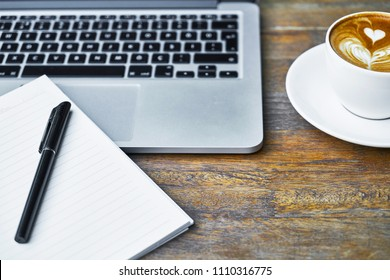 Smartphone Keyboard Notebook Coffee Cup Pen Stock Photo Edit Now