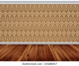 Wallpaper pattern wall with decorative white moldings, wooden board floor