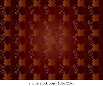 Wallpaper of red wine rack with spiral arabesques.