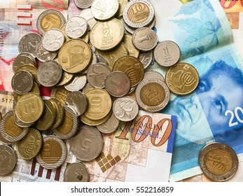 wallpaper of shekels and coins. politics money and financial crisis of rich Israel background. saving cash. business in Israel