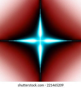 Wallpaper with a simple large shining modern looking cyan abstract fractal four-corner star surrounded by a black shadow and placed against red-white background