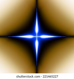 Wallpaper with a simple large shining modern looking blue abstract fractal four-corner star surrounded by a black shadow and placed against orange-white background