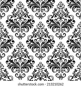 Wallpaper in the style of Baroque. Floral pattern. A seamless black and white background.