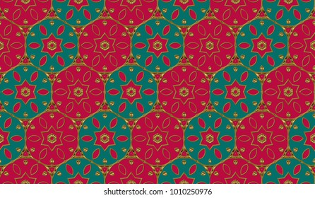 Wallpaper in the style of Baroque. Gold and colored texture. Floral ornament. Retro  elegant  flourishes ornamental frame design and pattern background.