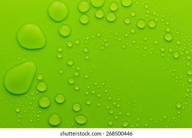 wallpaper of water drops texture on green pattern background