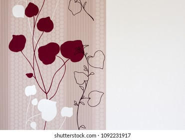 Wallpapper with flower paintings on a white wall