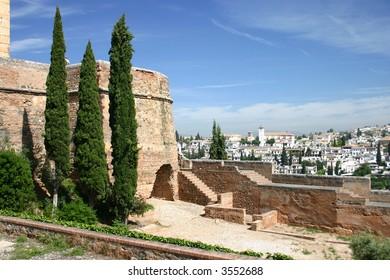 Walls of Alcazar in Granada, Andalusia, Spain