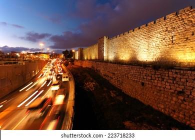 Walls of Ancient City at Night, Jerusalem, Israel