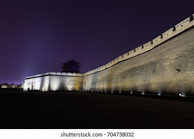 Walls of ancient city of Ping Yao (UNESCO World Heritage site). A famous historic site in Pingyao, Shanxi, China.